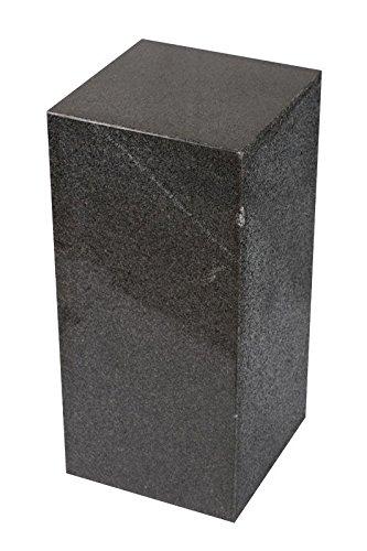 Colonne en granite rare, gris foncé, fabriquée à la main, très massive et solide, idéale comme socle pour sculpture, buste, vases, haut-parleurs, colonne de fleur, décoration et colonne de bijoux, sobre et moderne, stable, idéale pour le salon, la terrasse, le balcon ou le jardin, (H/L/l) 60 x 28 x 28 cm, poids : env. 50 kg