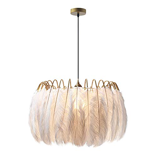 "Modo Lighting Nordic White Feather Chandelier Minimalist Decor Pendant Light Beautiful Adjustable Hanging Light for Bedroom Girls Room (23"")"