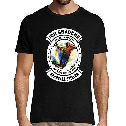 Herren T-Shirt Ich Brauche Keine Therapie Ich muss einfach nur Handball Spielen | Sport/Humor/Spaß S