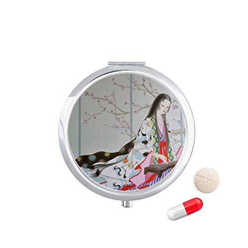 Doe-het-zelf denker pruim bloesem schoonheid chinese schilderij Travel Pocket Pill Case Medicine Drug Opbergdoos Dispenser Spiegel Gift