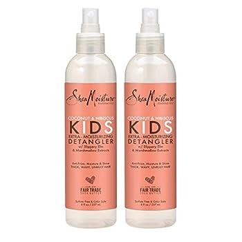 Shea Moisture Coconut & Hibiscus KIDS Extra Moisturizing Detangler Slippery Elm and Marshmallow Extracts Anti-Frizz Moisture & Shine 8 oz Pack of 2