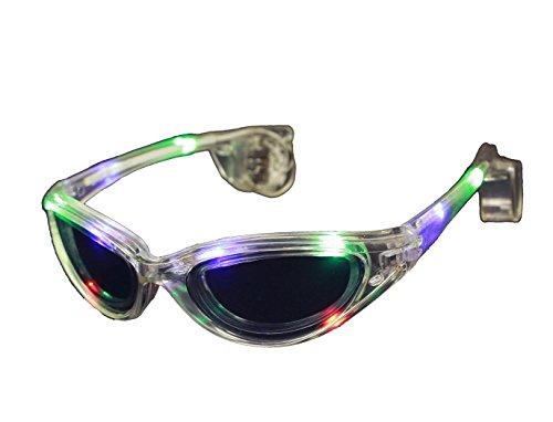 HAAC Gag Party Brille mit Licht leuchtend Farbe transparent für Fasching Karneval
