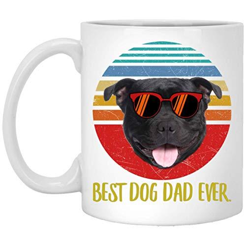 N\A Funny Best Staffordshire Bull Terrier Smile Dad Ever Sunset Taza de café Retro 11 oz