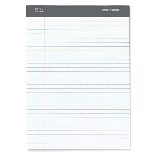 Office Depot Professional Legal Pad, 8 1/2in. x 11 3/4in, Legal Ruled, 50 Sheets Per Pad, White, Pack of 8 Pads, 99528