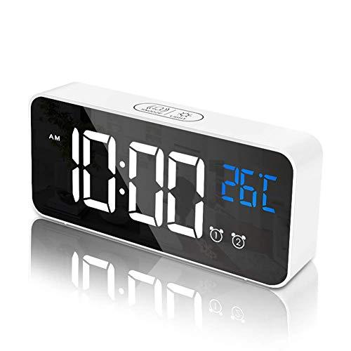 RLBUNZ Digitaler Wecker, LED Digitaluhr Spiegelalarm Tischuhr USB Wiederaufladbar Reisewecker mit 2 Alarmen/Snooze-Funktion/Temperatur Anzeige/Sprachsteuerung Funktion/4 Helligkeiten/13 Musik