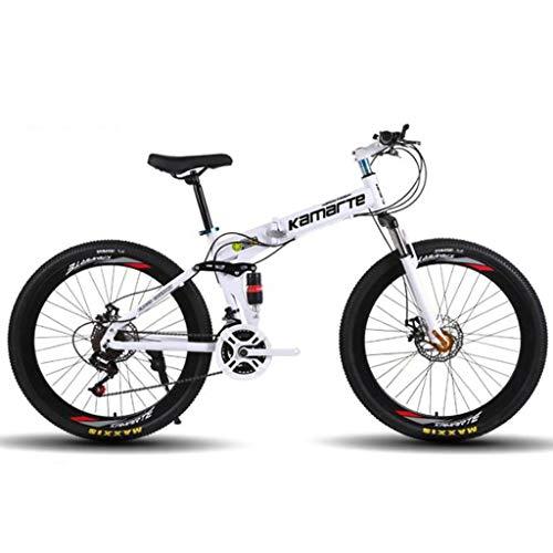 Vélo VTT, Vélo Tout Terrain, Vélo de Montagne, VTT Vélos des femmes des hommes 26 pouces Ravine Bike Full Suspension 21/24/27 double délais Frein à disque carbone Cadre en acier ( Color : White )