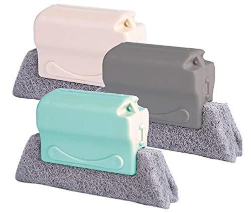 Hand-Fugendüsenreiniger, kreative Fensterrillen-Reinigungsbürste, reinigt schnell alle Fensterschienen & Lücken, 3 Stück (grau + beige + grün)