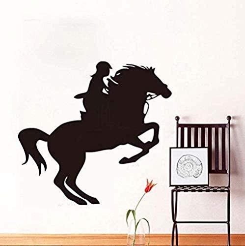 Adhesivo de pared Mural femenino jinete mural de caballo decoración del hogar sala de estar decoración impermeable DIY vinilo arte gráfico caballo 44X41cm