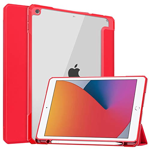JCTek Protective Case for New iPad 8th Generation 2020 / iPad 7th Generation 10.2' 2019, Ultra Slim Lightweight Shock Absorbent Flexible Cover with Pencil Holder, Clear Back TPU Cover (red)