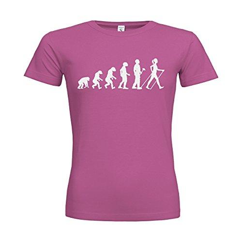 MDMA Frauen T-Shirt Classic Evolutionstheorie Nordic Walking Frau N14-mdma-ftc00378-263 Textil fuchsia / Motiv glitterweiss / Gr. XL