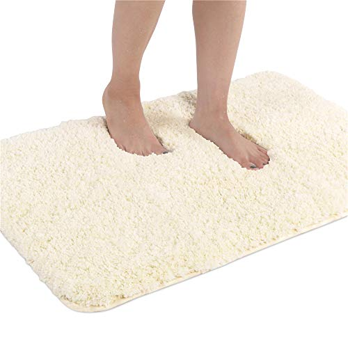 Seavish Luxury Ivory Bath Rug, 19.5 X 31.5 Inches Shaggy Bathroom Rugs,Non Slip Efficient Water Absorbent Machine Washable Tufted Bath Mat Microfiber Soft Thick Plush Toilet Mat Floor Carpet