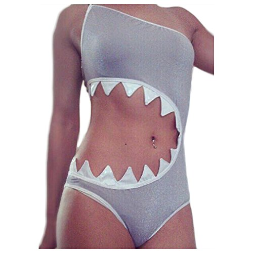 WeeH One Piece Swimsuit for Women Sexy Summer Holiday Bikini Swimwear Pool Beach (Shark, Large)