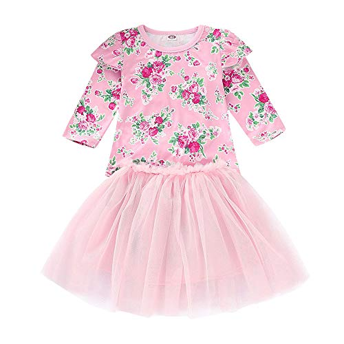 IZHH Kinder MäDchen Rock Set 12M-5T Kinder Langarm Floral Tops Net Rock Set Kleinkind Kinder Baby MäDchen Mit T-Shirt Prinzessin Tulle Party Dress(Rosa,110)
