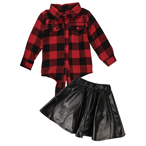 HaiQianXin 2 Stücke Mode Baby Plaid Langarm-shirt + Lederrock Set Kinder Casual Anzug Set (Size : 6-7T)