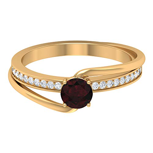 Rosec Jewels 18 quilates oro amarillo redonda round-brilliant-shape H-I Red Diamond Garnet