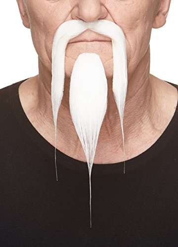 Mustaches Self Adhesive, Novelty, Shaolin Fake Beard and Fake Mustache, False Facial Hair, Costume Accessory for Adults, White Color