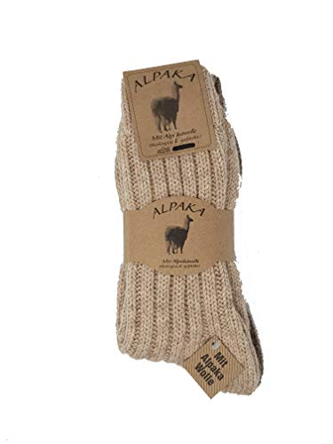 Mum Panty's 2 paar Alpaca Sokken dames + heren 40% wol, 40% polyacryl, 10% polyester, 10% alpaca winterwarm lichtbruin/donkerbruin 43-46
