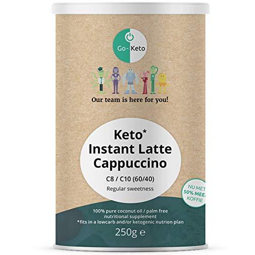 Go-Keto MCT Instant Keto Kaffee Latte – Cappuccino, 250g | Premium MCT C8 C10, 100% Kokosöl palmölfrei | perfekt für die Keto Diät | mit Süße aus Stevia | Paläo, vegan, Low Carb