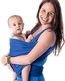 CuddleBug - Echarpe de Portage - Porte Bébé jusqu'à 16kg - Mains Libres - Couverture de Portage Taille Unique - Douce - Flexible - Cadeau Naissance (Bleue)