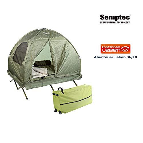Semptec Urban Survival Technology Feldbett Zelt: 4in1-Doppelzelt mit Feldbett, 2 Sommer-Schlafsäcken und Matratze (Doppelfeldbett)
