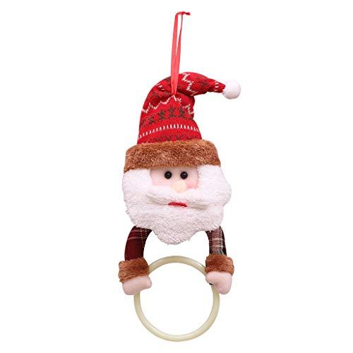 Zoe home Baño de Santa Claus Elk Trapo de la Toalla Que cuelga Bastidores del Anillo Soporte del árbol de Navidad de los Colgantes de Las Decoraciones de Navidad for la Cocina casera (Color : A)