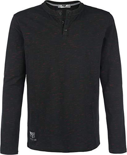 Black Premium by EMP Through The Glass Homme T-Shirt Manches Longues Noir/Rouge 3XL