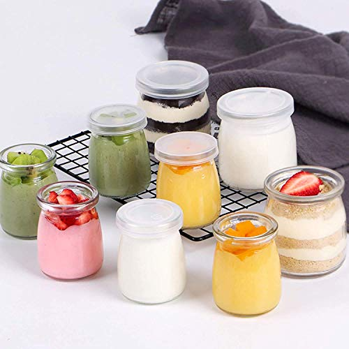 SIOPAWORLD Yogurt Jars Pudding Jar (150 ml) with Lid Replacement Glass Jars for Yogurt Maker and Milk, Parfait (Pack of 6) Gift for Family and Friends