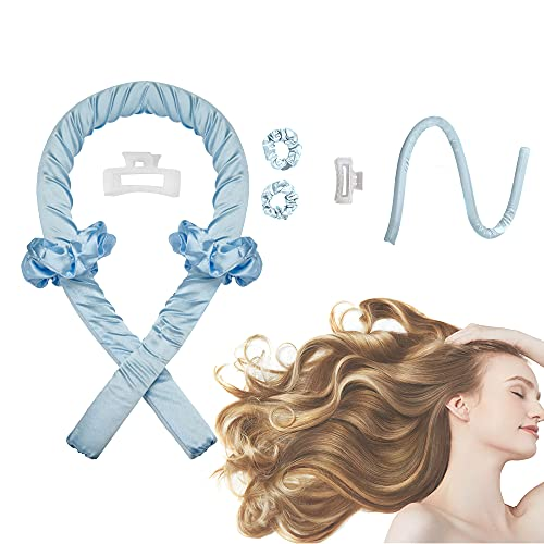 Women Heatless Curling Rod Headband, No Heat Curl Ribbon with Hair Clips and...