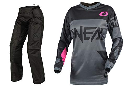 Oneal Womens Element Racewear Pink Jersey Apoc Pant Combo (Adult Large / 11/12)