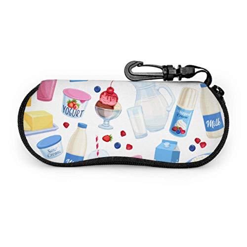 Estuche de gafas para gafas de niña yogur batido de leche alimentos niños gafas caso suave con cremallera neopreno gafas de sol bolsa protectora bolsa