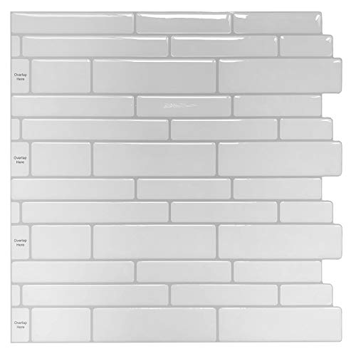 Peel and Stick Backsplash Tile Shelf-Adhesive Wall Stickers (10 Sheets) White Subway Tile with Grey Grout
