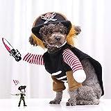 Zeraty Costume d'halloween pour Chat de Compagnie Refroidir Caribbean Pirate drôle Party Dog Vêtements Costume de Noël pour Chiens/Chats Petits à Moyens