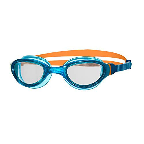 Zoggs Kinder Phantom Curve Junior with UV Protection and Anti-Fog Schwimmbrille, Blue/Orange/Clear, 6-14 Years
