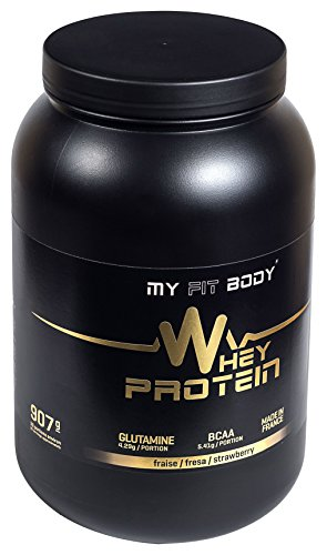 My Fit Body - Whey Protein Elite - Integratore Sportivo - Migliora i Risultati - Ideale per Aumentare la Massa Muscolare - Proteina di Siero di Latte - Gusto Fragola - 907 gr