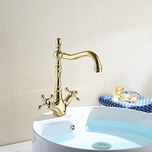 Grifo lavabo de baño lavabo de cocina de latón lavabo de estilo europeo dorado con doble orificio de un solo orificio tipo placa de cerámica