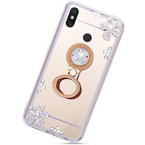 Urhause Carcasa de silicona con espejo para Xiaomi A2 Lite, brillante diamante de imitación de flor TPU funda protectora con soporte de anillo espejo funda funda para teléfono móvil Bumper Shell, oro