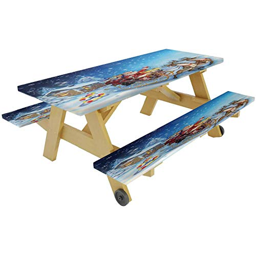 72' Polyester Picnic Table and Bench Fitted Tablecloth Cover,Santa in Sleigh Reindeer Toys in Snowy North Pole Tale Fantasy Image Elastic Edge Fitted Tablecloth for Picnics Parties Outdoor,Navy Blue