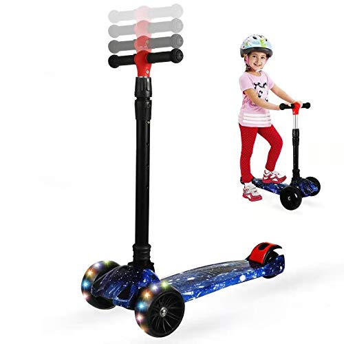 Zicosy Scooter for Kids - 3 Wheel Scooter, Adjustable Height Kids Scooter,Lean to Steer with Extra-Wide PU LED Light Up Wheels, for Boys & Girls from 2 Years Old and Up (Star Blue)