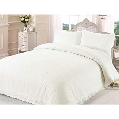 Victoria Cream Lace Embroidered Double Duvet Set includes Duvet Cover & Pillowcases