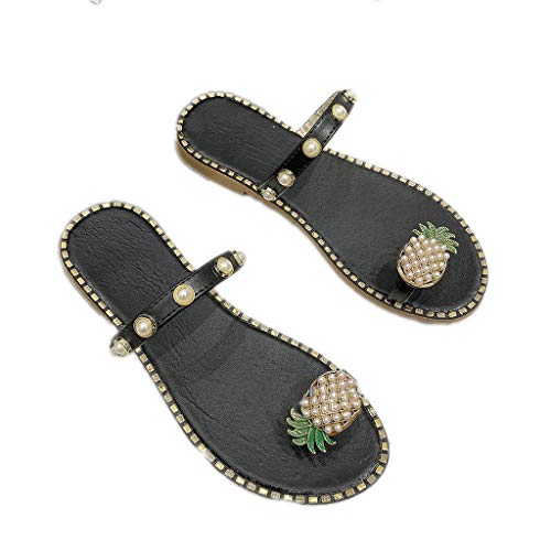 WggWy Sandalias De Perlas De Gran Tamaño De Verano, Sandalias Cómodas De Moda Lindas Informales Ligeras para Mujer Sandalias De Playa Antideslizantes para Mujer Zapatillas,Negro,37