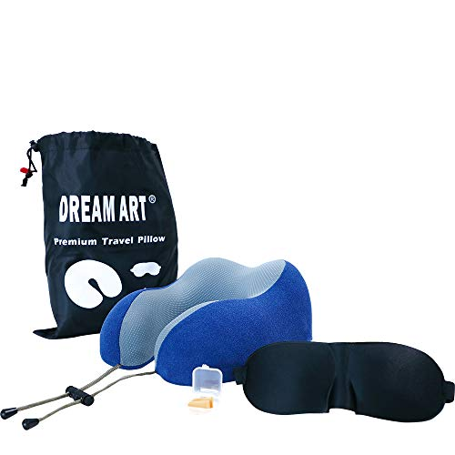 DREAM ART Travel Neck Kussen Memory Kussen U-Shaped Airplane Car Flight Kussen Met Oogmaskers, Oordopjes en Opbergtas Blauw
