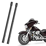 KSaAuto H16 Pair AM/FM Radio Antenna for Harley Davidson Road Street Electra Tour Glide (20 Types Optional) 9 Inch Polished, Copper Core & Screw, Flexible Rubber, Motorcycle Antenna