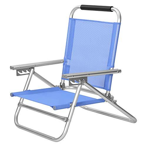 Songmics Strandstoel, draagbare klapstoel, rugleuning in 3 standen verstelbaar, met armleuningen, ademend en comfortabel, outdoor-stoel, blauw