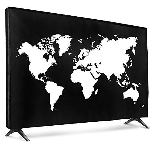 kwmobile Funda para Monitor 49-50  TV - Cubierta Protectora Mapa del Mundo en Blanco Negro
