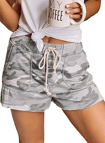 Dokotoo Women's Fashion 2021 Pocketed Comfy Camo Camouflage Drawstring Elastic Waist Loose Shorts for Women for Casual Summer Pants XL