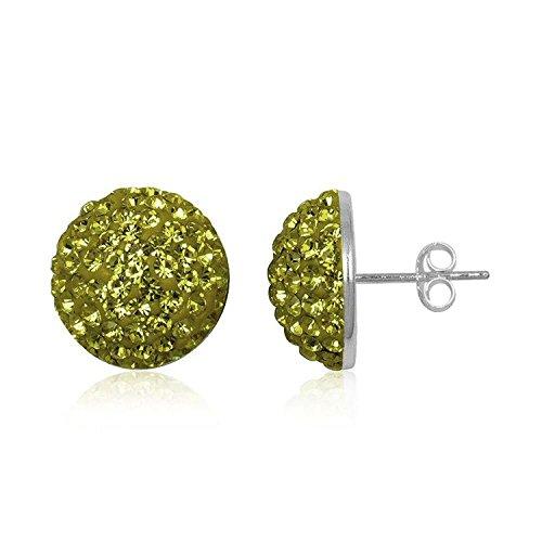 14MM Half Disco Ball Sterling Silver Stud Earrings/Ear Studs for Women/Teenage/Girls - 925 Sterling Silver - Round Silver Earrings - GREEN OLIVINE. 14-GO