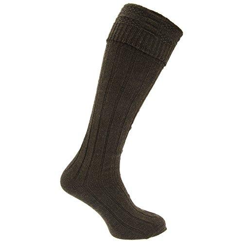 Calcetienes altos falda escocesa de lana Modelo Scottish Highland hombre caballero (1 par) (39-45 EU Caqui)