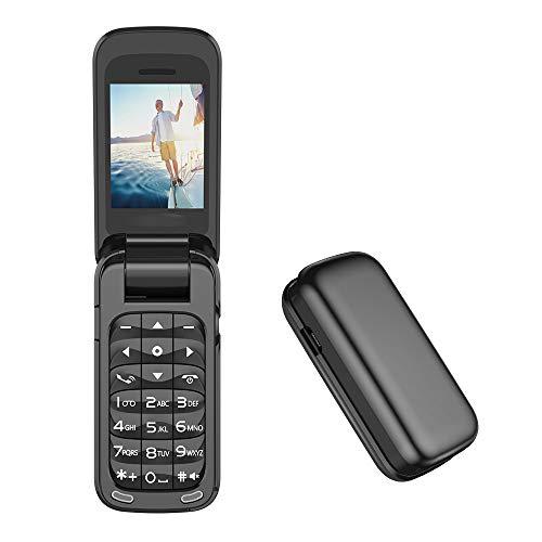 L8star Piccolo Mini Flip Cellulare SIM + TF Card MP3 Magic Voice Changer Bluetooth Dialer Musica Cellulare BM60 (nero)