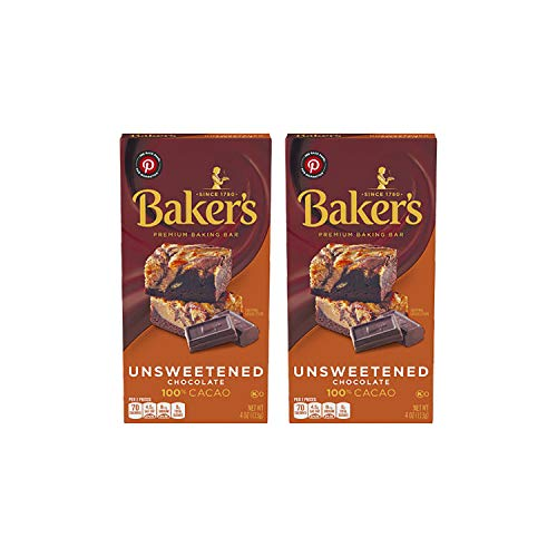 Baker's Unsweetened Baking Chocolate Bar, 4 Oz - Pack of 2