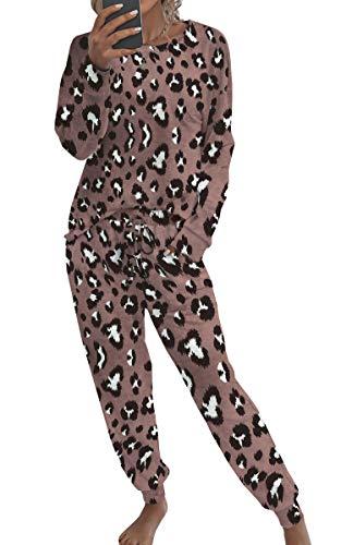 Spec4Y Pyjama Damen Zweiteilige Nachtwäsche Tie Dye Druck Langarm Oberteil Lang Hose Schlafanzug Loungewear mit Taschen 2035 Kaffee Small